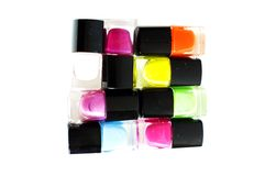 Nail polish. Multicolored isolated white background Stock Image