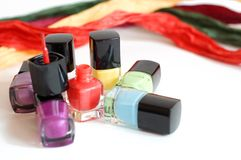 Nail polish. Multicolored isolated white background Stock Photo