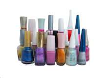 Nail polish. Collection of nail polish bottles in many colors colorful colour Royalty Free Stock Photo