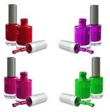 Nail_polish. Bottles of  nail polish, isolated on white background. Vector Stock Images