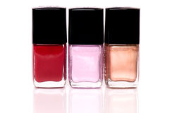 Nail polish. Different nail polish on the background Stock Images