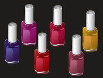 Nail polish. Six bottles of nail polish in various bright colors on a black background Royalty Free Stock Photos
