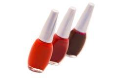 Nail polish. Different types of nail polish on white background Royalty Free Stock Photos