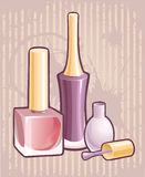 Nail polish. Bottle of Nail Polish and Brush Stock Photo