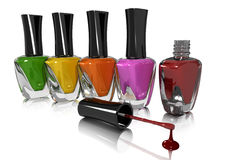 Nail Polish. A row of Nail polish bottles Stock Image