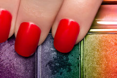 Free Nail Polish And Colorful Eye Shadow Royalty Free Stock Photos - 40121788