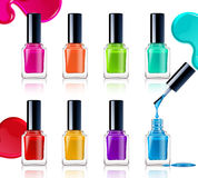 Nail Polish Assortment. Of beautiful bright colors on white background with colorful drops realistic vector illustration Stock Image