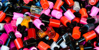 Nail polish. Assortment of colorful nail polish bottles Royalty Free Stock Photos