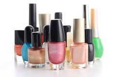 Nail Polish Bottle composition. Different shapes of Nail Polish Bottle stock images