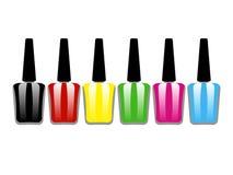 Nail polish bottle. Set of colored nail Polish on white background Royalty Free Stock Images