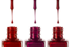 Nail polish and bottles Royalty Free Stock Photo