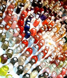 Nail polish bottles. Collection of nail polish bottles in many colors Royalty Free Stock Photos