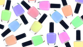 Nail polish bottles close up Royalty Free Stock Photography