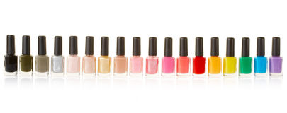 Nail polish bottles colorful collection Stock Image