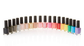 Nail polish bottles colorful group Stock Photos