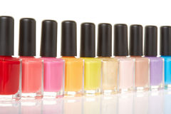 Nail polish bottles colorful group Royalty Free Stock Photography