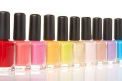 Nail polish bottles colorful group Royalty Free Stock Photography