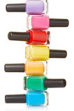 Nail polish bottles colorful stack Royalty Free Stock Images