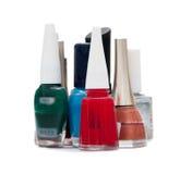Nail polish bottles. Isolated on white royalty free stock photo