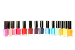 Nail polish. Bottles of nail polish isolated on a white Royalty Free Stock Image