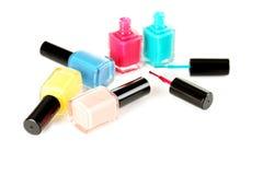 Nail polish. Bottles of nail polish isolated on a white stock photos