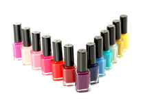 Nail polish. Bottles of nail polish isolated on a white Stock Photography