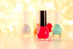 Nail polish bottles, manicure and pedicure collection. Beauty, make-up and cosmetics concept - Nail polish bottles, manicure and pedicure collection royalty free stock photos