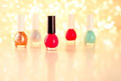 Nail polish bottles, manicure and pedicure collection. Beauty, make-up and cosmetics concept - Nail polish bottles, manicure and pedicure collection stock image