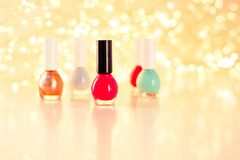 Nail polish bottles, manicure and pedicure collection. Beauty, make-up and cosmetics concept - Nail polish bottles, manicure and pedicure collection stock photo