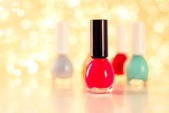 Nail polish bottles, manicure and pedicure collection. Beauty, make-up and cosmetics concept - Nail polish bottles, manicure and pedicure collection royalty free stock photography
