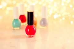 Nail polish bottles, manicure and pedicure collection. Beauty, make-up and cosmetics concept - Nail polish bottles, manicure and pedicure collection royalty free stock image