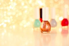 Nail polish bottles, manicure and pedicure collection stock images
