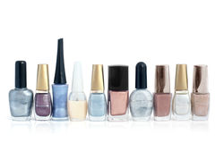 Nail polish bottles in a row Royalty Free Stock Photo