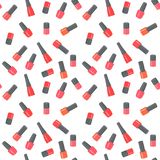 Nail polish bottles seamless pattern. Raster Illustration. On white background Stock Illustration