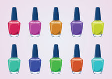 Nail polish bottles. Vector illustration of nail polish in glass bottles with various color variations vector illustration