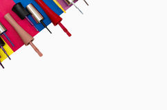 Nail polish brushes isolated on white background stock photography