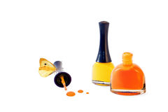 Nail polish with butterfly Royalty Free Stock Photos