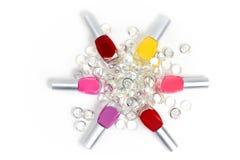 Nail polish circle in jewels Royalty Free Stock Image