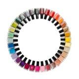 Nail polish colorful bottles circle Royalty Free Stock Photo