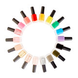 Nail polish colorful bottles circle Royalty Free Stock Photos