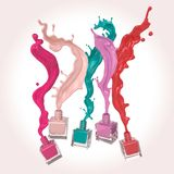Nail polish or Colorful lacquer paint Splash. Colorful nail polish or Colorful lacquer paint Splash on white background, 3d illustration royalty free illustration
