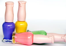 Nail polish. Colorful nail polish on white background stock images