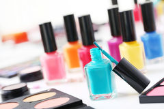 Nail polish. Colourful nail polish on a white table Stock Images
