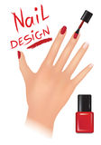 Nail polish design. Buity salon background. Nail polish design banner. Woman hand with applying a varnish on nails Royalty Free Stock Photos