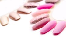 Nail polish in different fashion colors Royalty Free Stock Photography