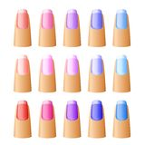 Nail polish in different hues. stock illustration