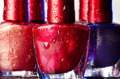 Nail polish with drops of water Royalty Free Stock Image