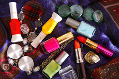 Nail polish  enamel and lipstick Royalty Free Stock Image