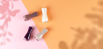 Nail Polish is on a gentle background. Cosmetic stock image