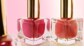 Nail polish glass bottles Royalty Free Stock Image